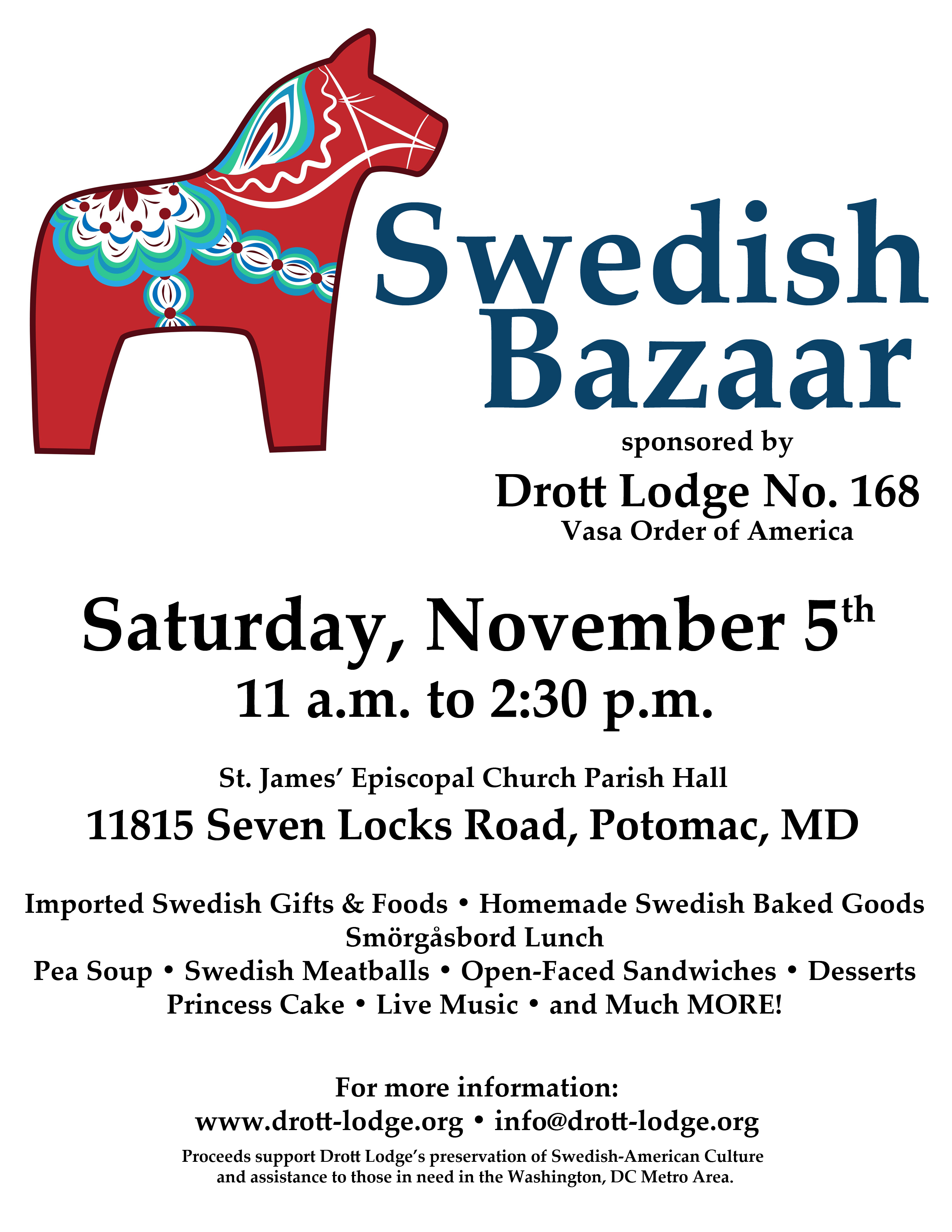 Annual Swedish Bazaar (Volunteers Needed!) @ St James' Episcopal Church Parish Hall | Potomac | Maryland | United States